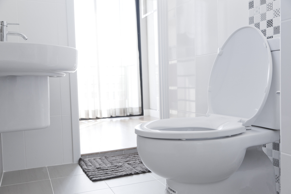 interior of a bathroom with a sink and toilet