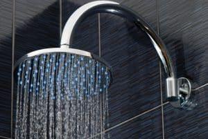water falling from fancy shower head