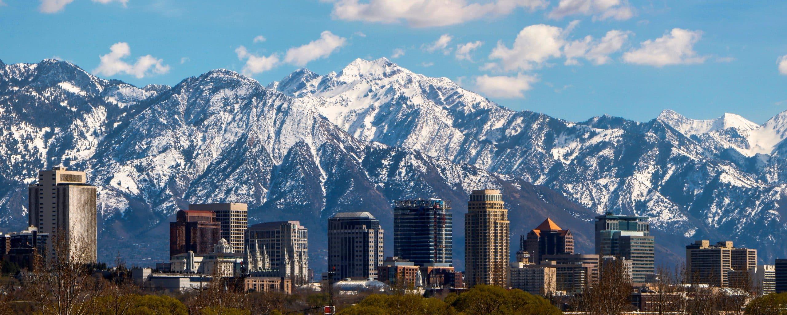 Salt Lake City mountains with snow